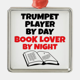 Book Lover Trumpet Player Silver-Colored Square Decoration