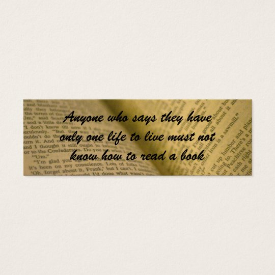 book lover's bookmark mini business card