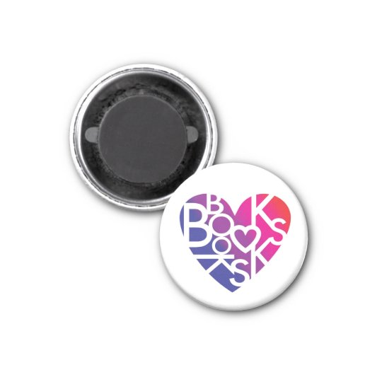 Book Lover's Heart® Button 3 Cm Round Magnet