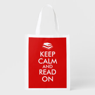 Book Lovers Keep Calm and Read On Shopping Bag Red