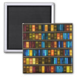 Book Lovers & Librarians Colourful Books on Shelf Square Magnet