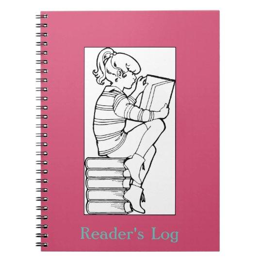 Book Lovers Reader's Log; Girl Reading Books Image