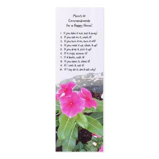 Book Mark - Mom s 10 Commandments Book Mark Business Card Template