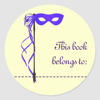 Book Name Sticker Purple Ribbon Mask