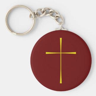 Book of Common Prayer Cross Basic Round Button Key Ring