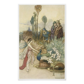 Book of Fairy Poetry, Peacock Vintage Art Posters