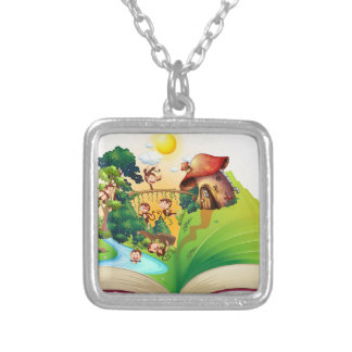 Book of monkeys living by the river square pendant necklace