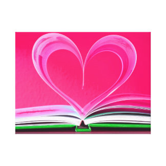 Book Pages Heart Canvas Print