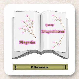 book plant magnolien drink coaster