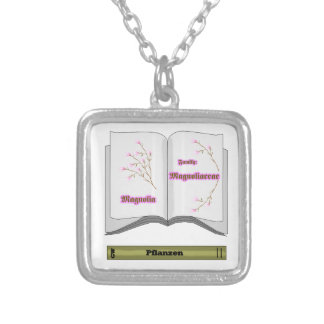 book plant, magnolien square pendant necklace