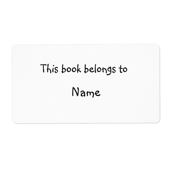 Book plate - Simple white Shipping Label