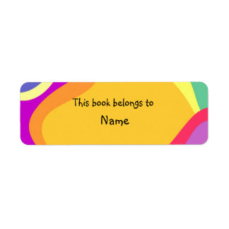 Book plate with colorful modern abstract shapes