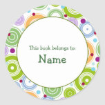 Book plate with retro design - customisable stickers