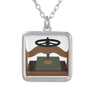 Book Press Square Pendant Necklace