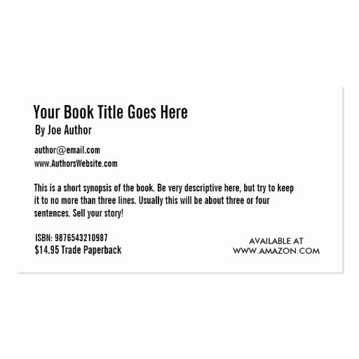 Card Book Template Book Promotion Business Card