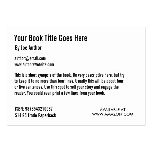 Card Book Template Book Promotion Trading Card