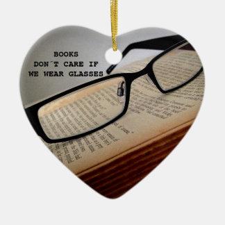 BOOK READER GLASSES POEM, BOOK LOVER CERAMIC HEART DECORATION