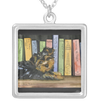 Book Shelf Cutie Square Pendant Necklace