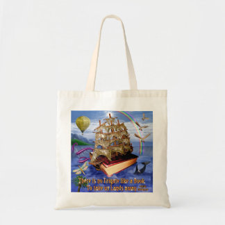 Book Ship Ocean Scene with Emily Dickinson Quote Tote Bag