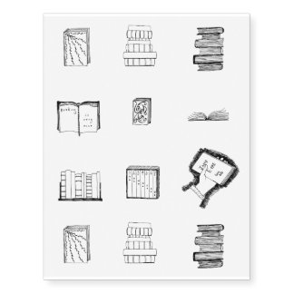 Book Sketches Temporary Tattoos