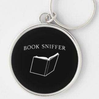 Book Sniffer Silver-Colored Round Key Ring