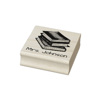 Book Stack Books Personalized Teacher Gift Stamp