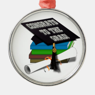 "Book Stack ""CONGRATS TO THE GRAD"" Diploma Silver-Colored Round Decoration"