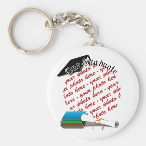 """Book Stack Graduation """"Our Graduate"""" Frame Keychain"""