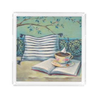 Book & Teacup Pastel Acrylic Square Tray