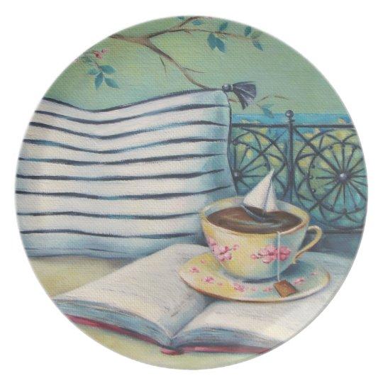 Book & Teacup Pastel Melamine Plate