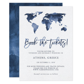 Book the Tickets | World Map Blue Save the Date Card