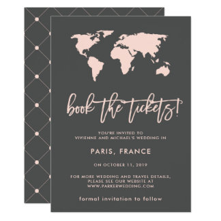 Book the Tickets | World Map Gray Save the Date Card