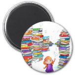 Book Tower 6 Cm Round Magnet