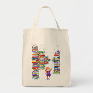Book Tower Grocery Tote Bag