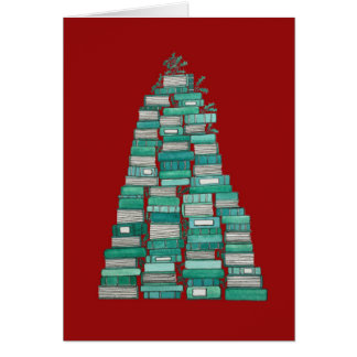 Book Tree Christmas Card: Red Background Card