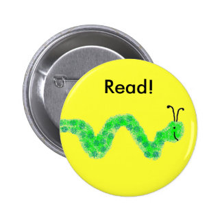 Book Worm 6 Cm Round Badge