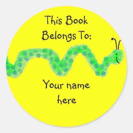 Book Worm, Book Plate Round Sticker