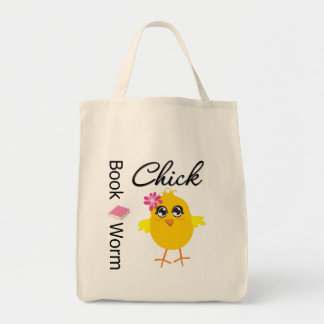 Book Worm Chick Grocery Tote Bag