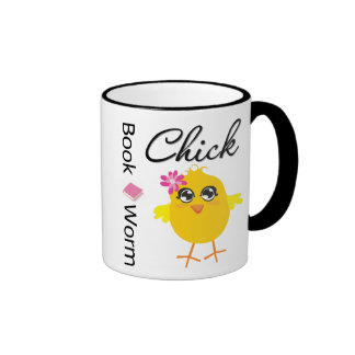 Book Worm Chick Ringer Mug