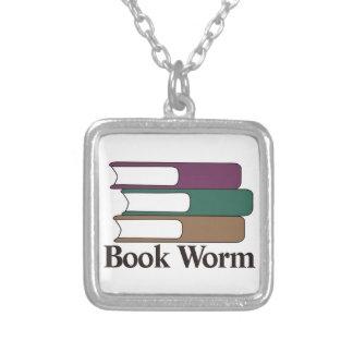 Book Worm Square Pendant Necklace