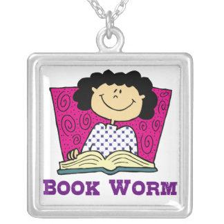 Book Worm Necklace Pendant