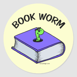 Book Worm Round Sticker