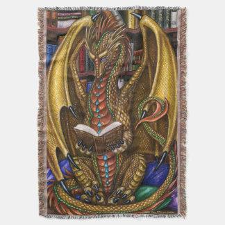 Book Wyrm Reading Dragon Throw Blanket
