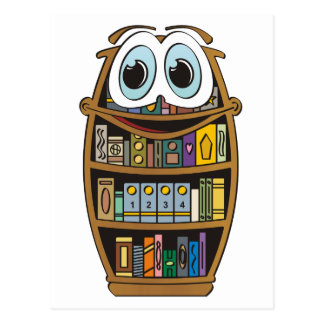 Bookcase Cartoon Postcard