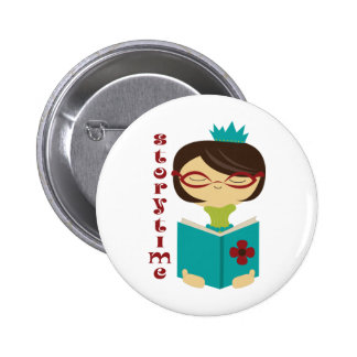 Bookish Storytime Reading Lady Librarian Gift 6 Cm Round Badge