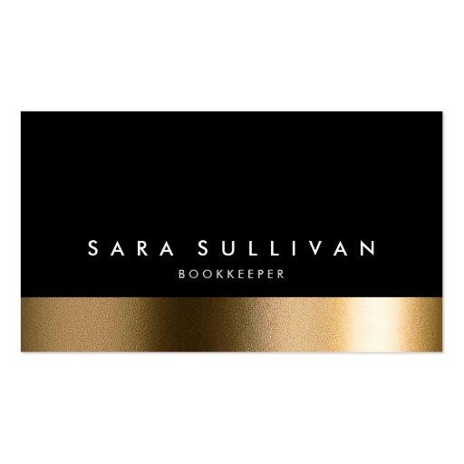 Bookkeeper Bold Black Gold Business Card