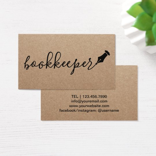 Bookkeeper Handwritten Script Rustic Kraft Business Card
