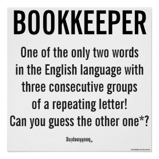 """Bookkeeper Is A Unique Word"""