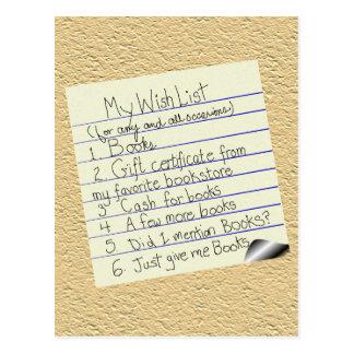 Booklover s Wish List Postcard