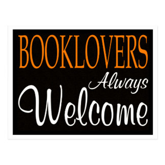 Booklovers always welcome sign postcards